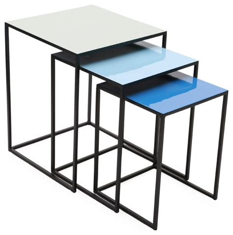 square nesting tables blue with enamel top set of 3