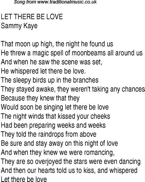 Let There Be Light Lyrics Top Songs 1940 Music Charts Lyrics For Let There Be Love