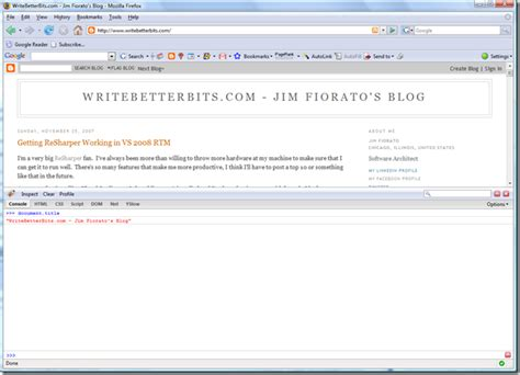 firebug console using the firebug console writebetterbits jim