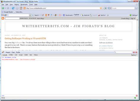 firebug console using the firebug console writebetterbits jim
