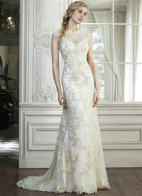 white gold wedding dresses sheath high neck lace wedding
