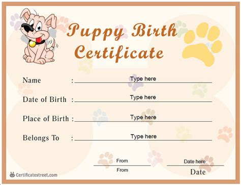 printable birth certificate for pets dog breeds picture
