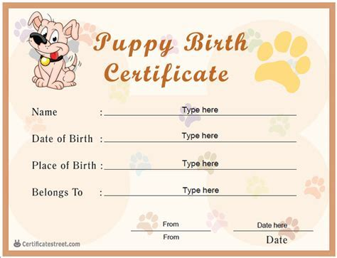 Puppy birth certificate template printable birth certificate for printable birth certificate for pets dog breeds picture yadclub Images