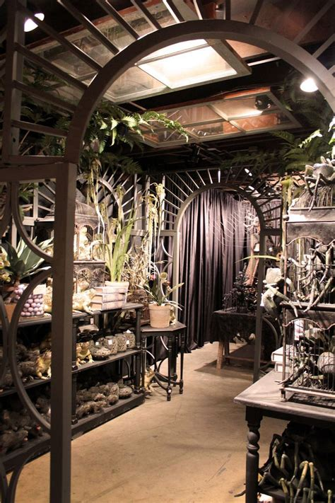 rogers gardens halloween display goth   greenhouse