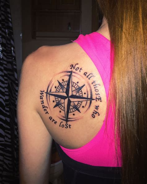 compass tattoo einfach compass tattoo not all those who wander are lost