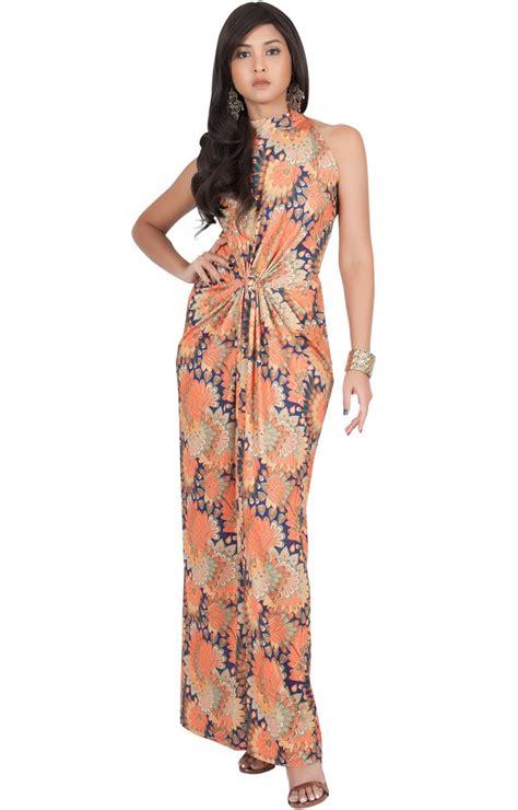 Top Five Print Maxi Dresses by Magnolia Sleeveless Summer Print Halter Maxi Dress