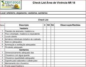 check list 225 rea de viv 234 ncia nr 18 download
