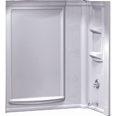 Aqua Glass Shower Doors Aqua Glass High Gloss White Back Shower Wall Surround Lowe S Canada