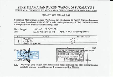 contoh surat perintah tugas siskamling surat perintah