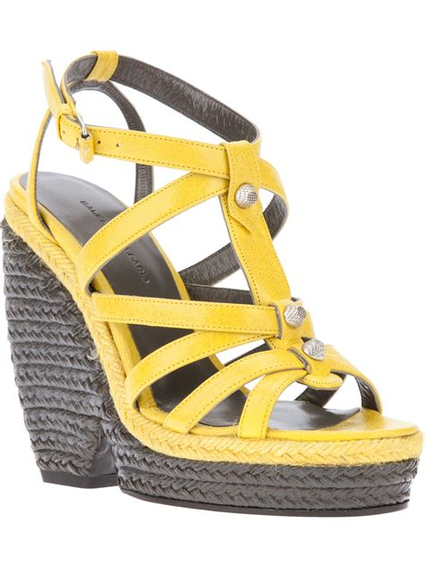 balenciaga wedge sandal in yellow lyst