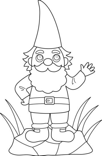 coloring page garden gnome colorable garden gnome free clip art
