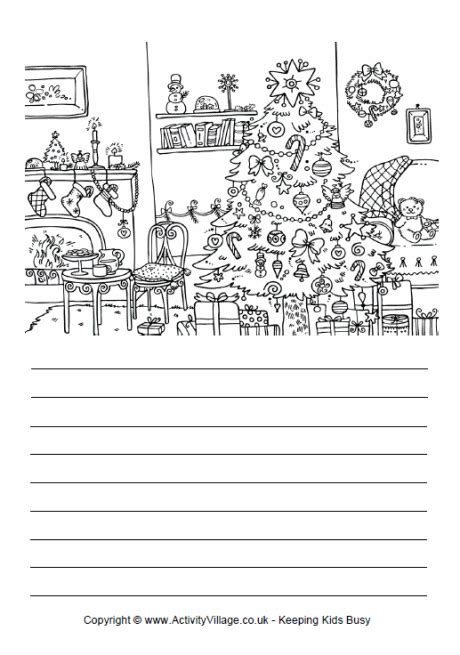 activity village printable writing paper christmas tree story paper