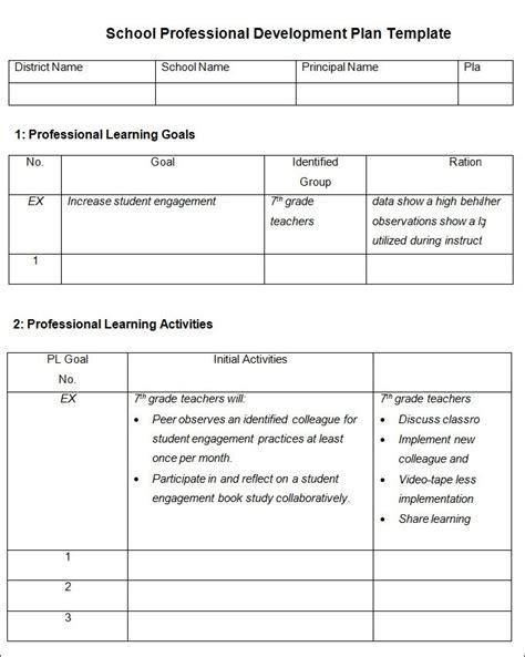 professional development plan sle templates professional development plan template the best letter