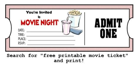 printable pretend tickets hermamas movie night ideas