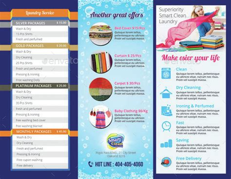tri fold laundry service brochure by tholai graphicriver
