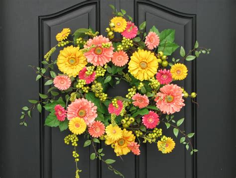 Door Wreaths For Spring | wreaths spring wreath for front door gerber daisy wreath