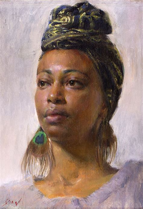 black woman paintings portraits quot study of nedda quot mary qian oil on canvas contemporary