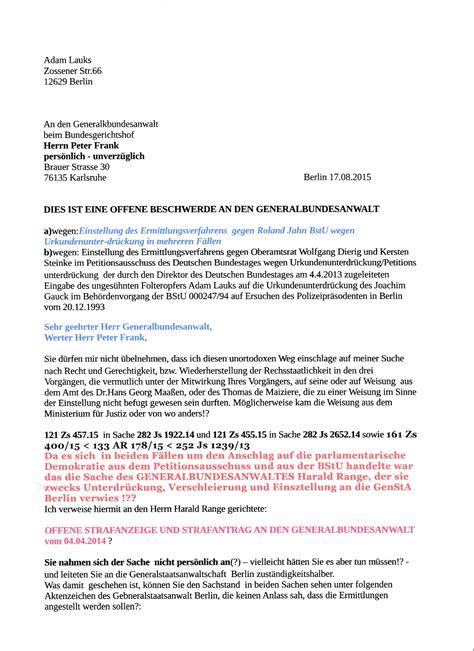 Beschwerdebrief Gegen Nachbarn Schreiben Dies Ist M Eine Offene Beschwerde An Den Neuen Generalbundesanwalt Deutschland