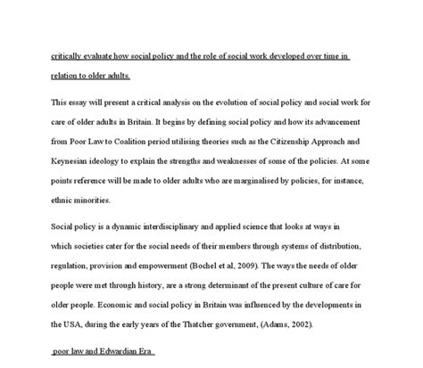 Social Policy Essays by Essays On Social Work Theories