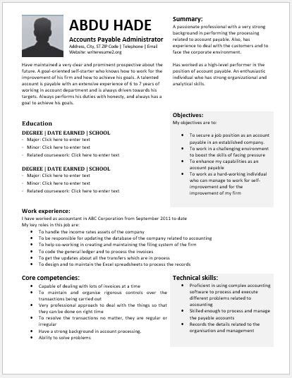 accounts payable administrator resume contents layouts templates resume templates