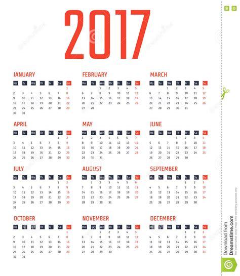calendar 2017 design calendar 2017 design stock vector image 74499908