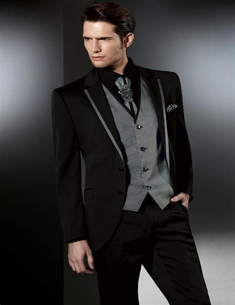 Silver Black Two Buttons Wedding suit for mens 2018 The