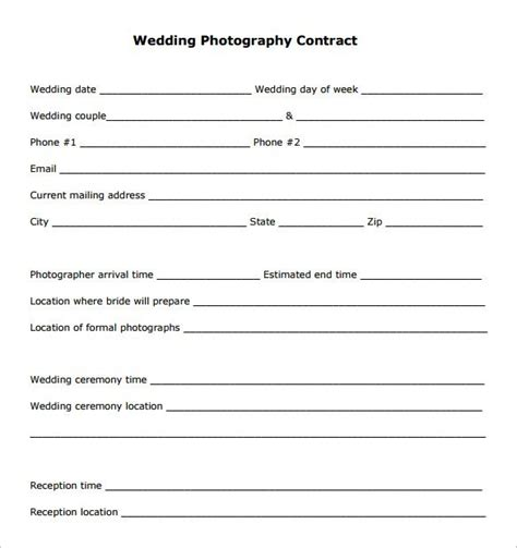 20 Photography Contract Template Photography Contract Forms Template
