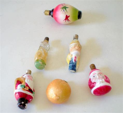 6 vintage figural christmas tree bulb lights from