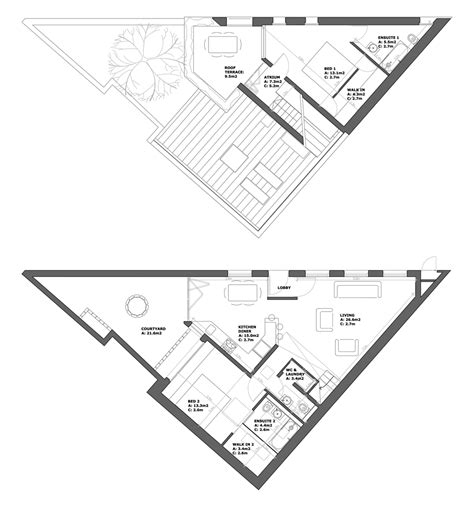 triangular house floor plans palmwood house london undercurrent architects 00