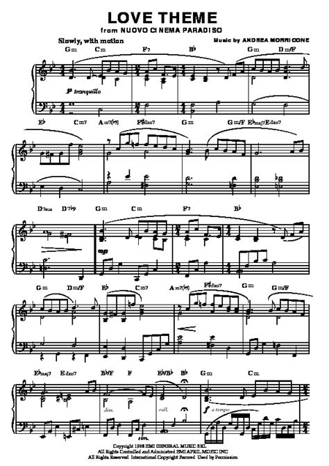 love themes songs download nuovo cinema paradiso love theme piano sheet music for