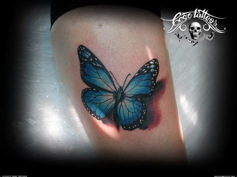 blue tattoos blue butterfly