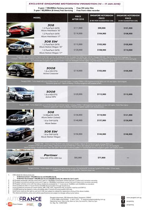 peugeot price list singapore motorshow 2016 peugeot price list deals