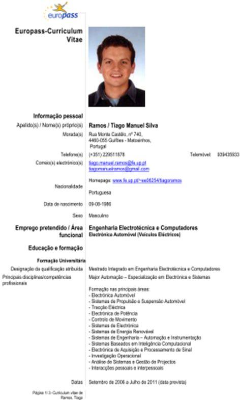 Modelo Curriculum Vitae Europeu Em Portugues Disserta 231 227 O Tiago Ramos