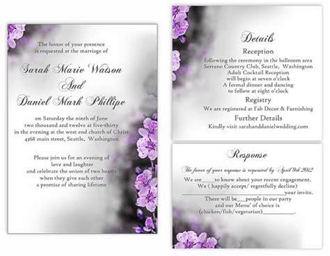purple wedding invitation template with decorative flowers vector