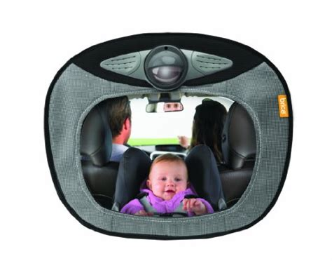 baby car mirror with remote and lights brica day and light musical mirror gray