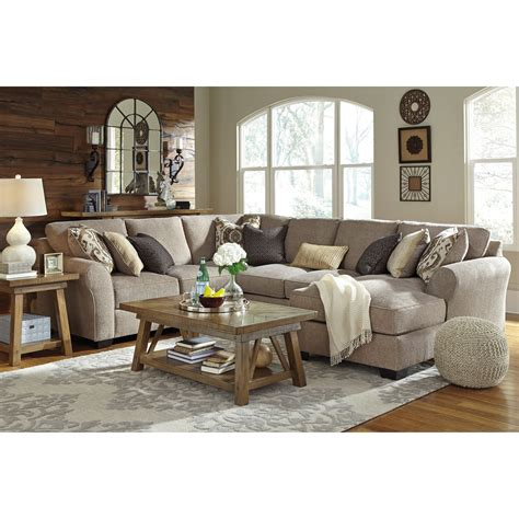 pantomime right chaise sectional benchcraft by pantomine 4 sectional with