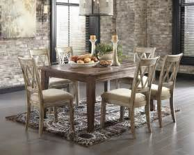 Cottage Dining Room Sets mestler 7pc dining room table set vintage ivory rustic