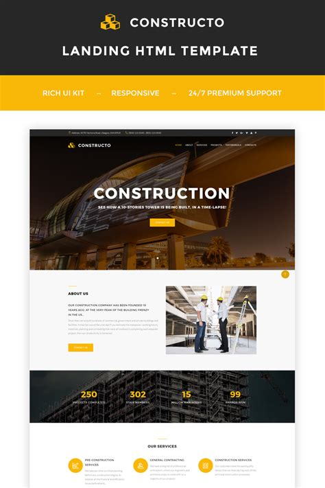 construction company landing html page template