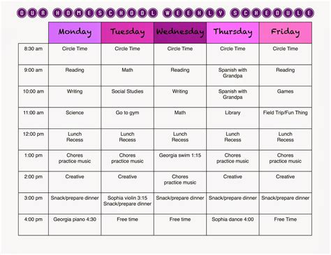 homeschooling schedule template a marmie homeschool weekly schedule and a free template