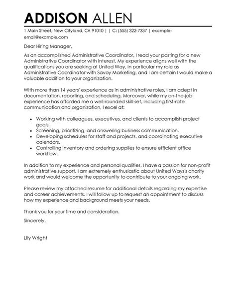 administrative coordinator cover letter exles