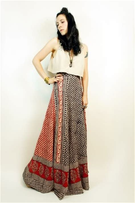 Sis Maxy Batik Puspamaya Maxi vtg 70s ethnic cotton batik india boho festival maxi wrap skirt dress os ebay