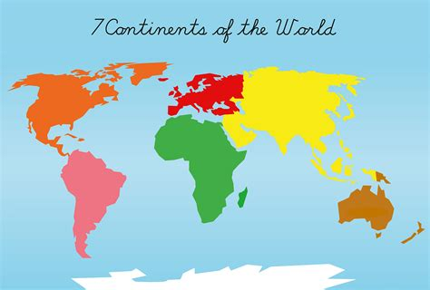 image of world map with continents montessori continents puzzle maps a2 a3 a4