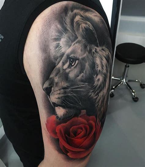 lion and rose tattoo is healed liontattoo tattooart tattooed