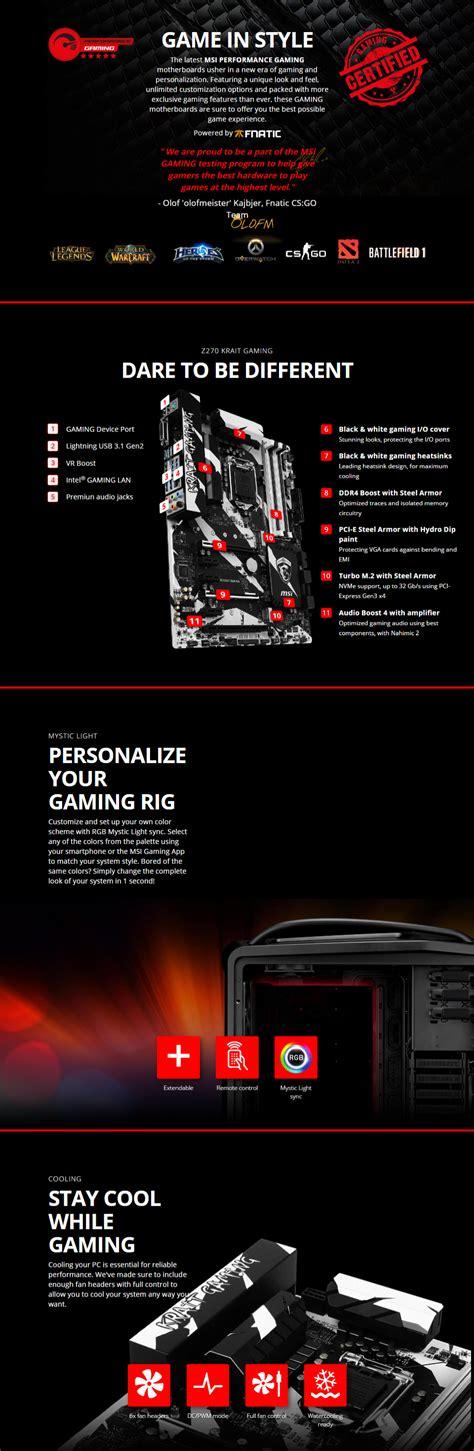 Ready Stok Msi Z270 Krait Gaming By Wpg Msi Z270 Krait Gaming Motherboard Motherboard