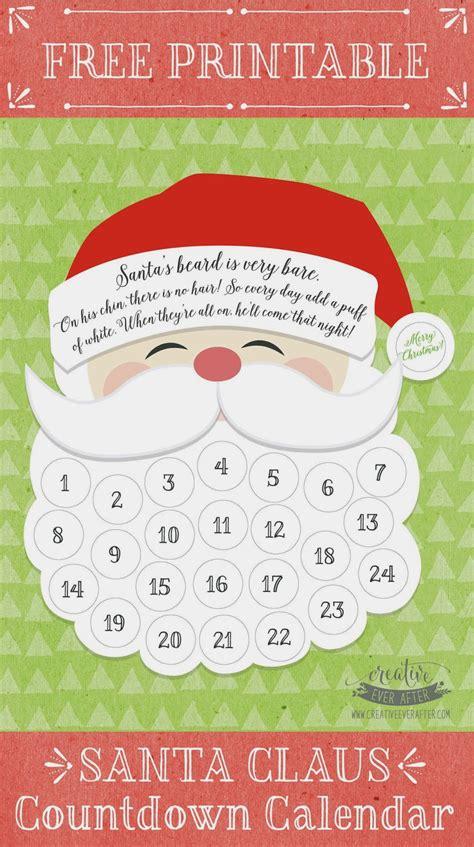 printable xmas countdown free printable santa claus beard countdown calendar