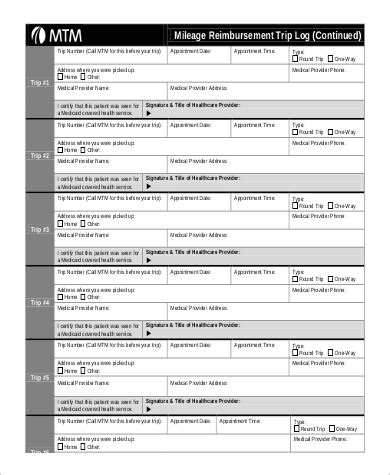 sle mileage log form 7 exles in pdf