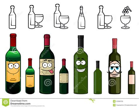 cartoon white wine cartoon characters of wine bottles in various stock vector