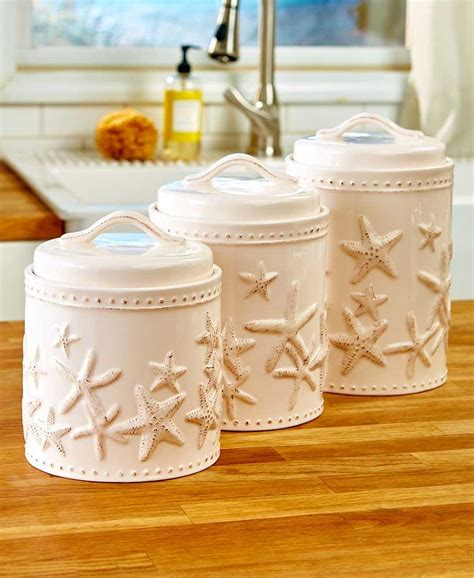 Large Kitchen Canisters by New Set Of 3 Seaside Starfish Coastal Beach Kitchen