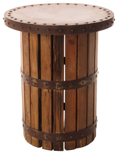 sonoma vintage copper iron wood barrel side table