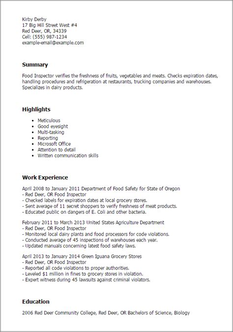 Livestock Inspector Cover Letter by 1 Food Inspector Resume Templates Try Them Now Myperfectresume